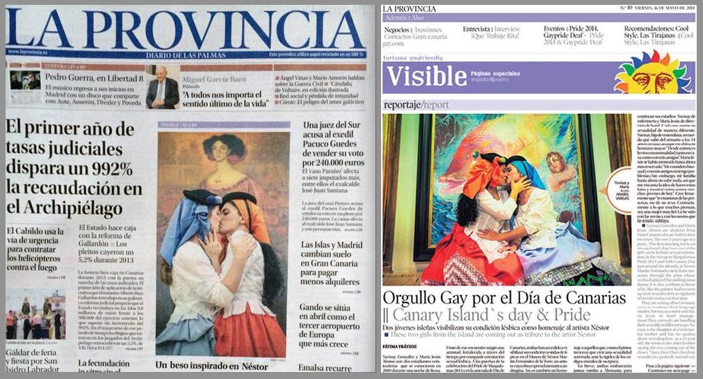 La pareja en la portada de La Provincia y su suplemento Visible.