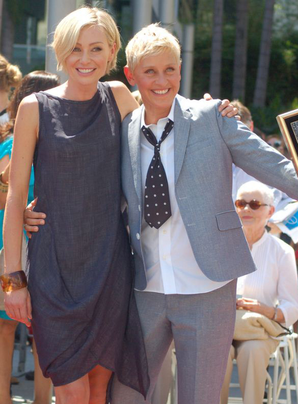La actriz y presentadora Ellen Degeneres con su mujer, la actriz Porti de Rossi