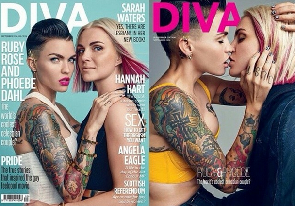 Aquí está la portada definitiva de Diva Magazine con Ruby y Phoebe como protagonistas, y otra imagen de la promoción.